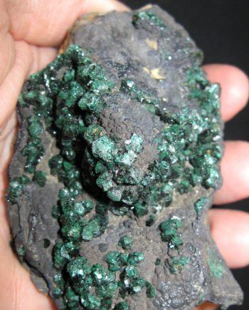 Malachite crystals on matrix