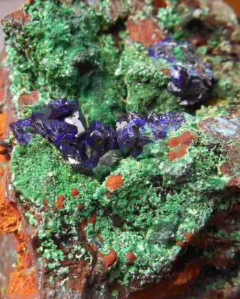 Azurite crystals, malachite, and limonite