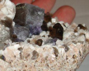 Fluorite, smoky quartz, microcline, and albite on matrix